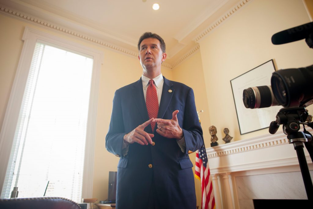 "Alabama Secretary of State John Merrill said the recent changes to voter ID laws have been to maintain the ""credibility of the electoral process."" (Photo by Jeffrey Pierre/News21)"