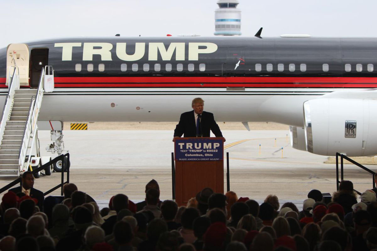 Republican presidential presumptive nominee Donald Trump speaks at a rally in Columbus, Ohio, on March 1. Trump reached the majority number of 1,237 GOP delegates in May, securing his position as the Republican candidate, but he will not officially become the nominee until he accepts the nomination at the Republican National Convention in July. (Photo by Emily Mills/News21)