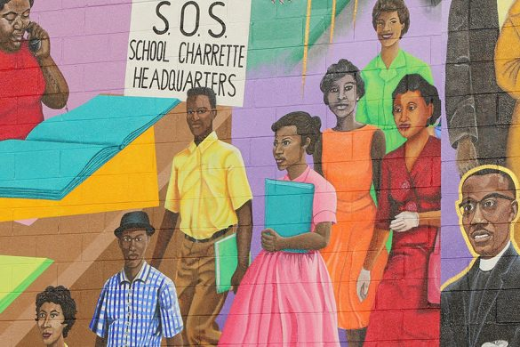 A mural decorates the side of a building in Durham, North Carolina. (Photo by Phillip Jackson/News21)