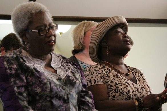 Brenda Chadwick (left) and Jimmie Shuler sing during church service in Durham, North Carolina, at New Creation United Methodist Church. (Photo by Phillip Jackson/News21)