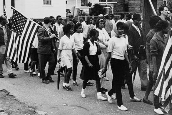 Participants march in the civil rights march from Selma to Montgomery, Alabama in 1965. (Photo courtesy of Library of Congress via WIkimedia)