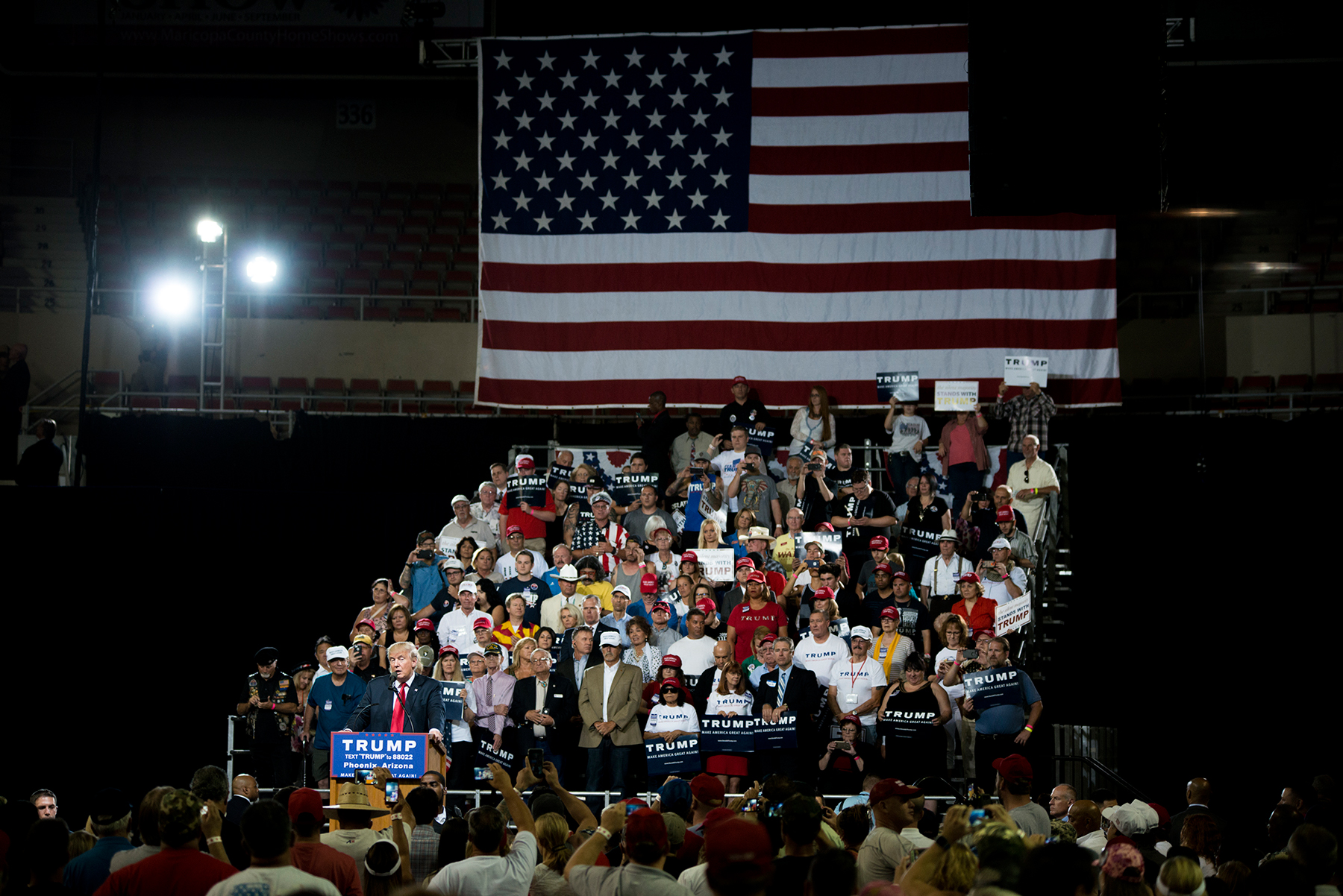Republican presidential candidate Donald Trump holds a rally in Phoenix. Trump has claimed fraudulent voters will be able to cast multiple ballots without voter ID laws in place. (Roman Knertser/News21)