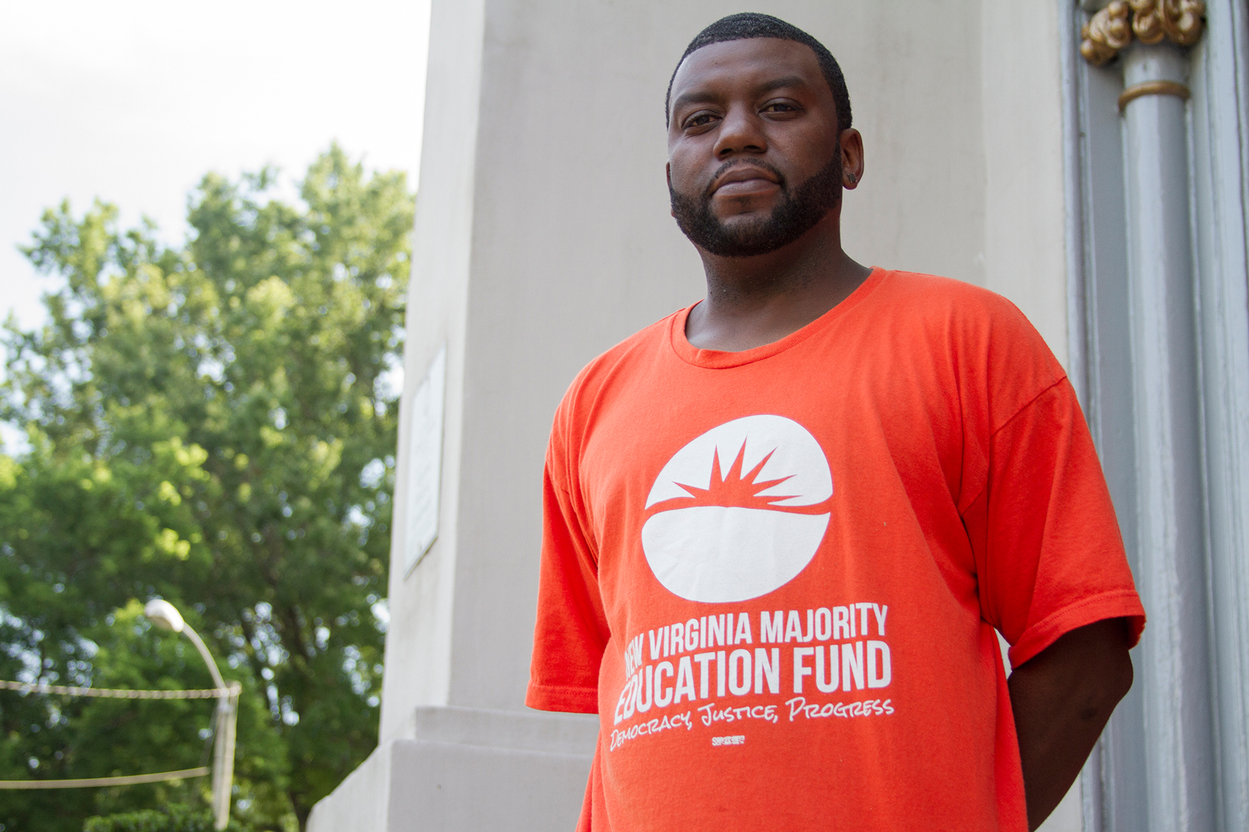 As a staff member with the New Virginia Majority Education Fund, Brandon Polly reaches out to felons living in and around Norfolk, helping them understand their rights and navigate the re-enfranchisement process. (Marianna Hauglie/News21)