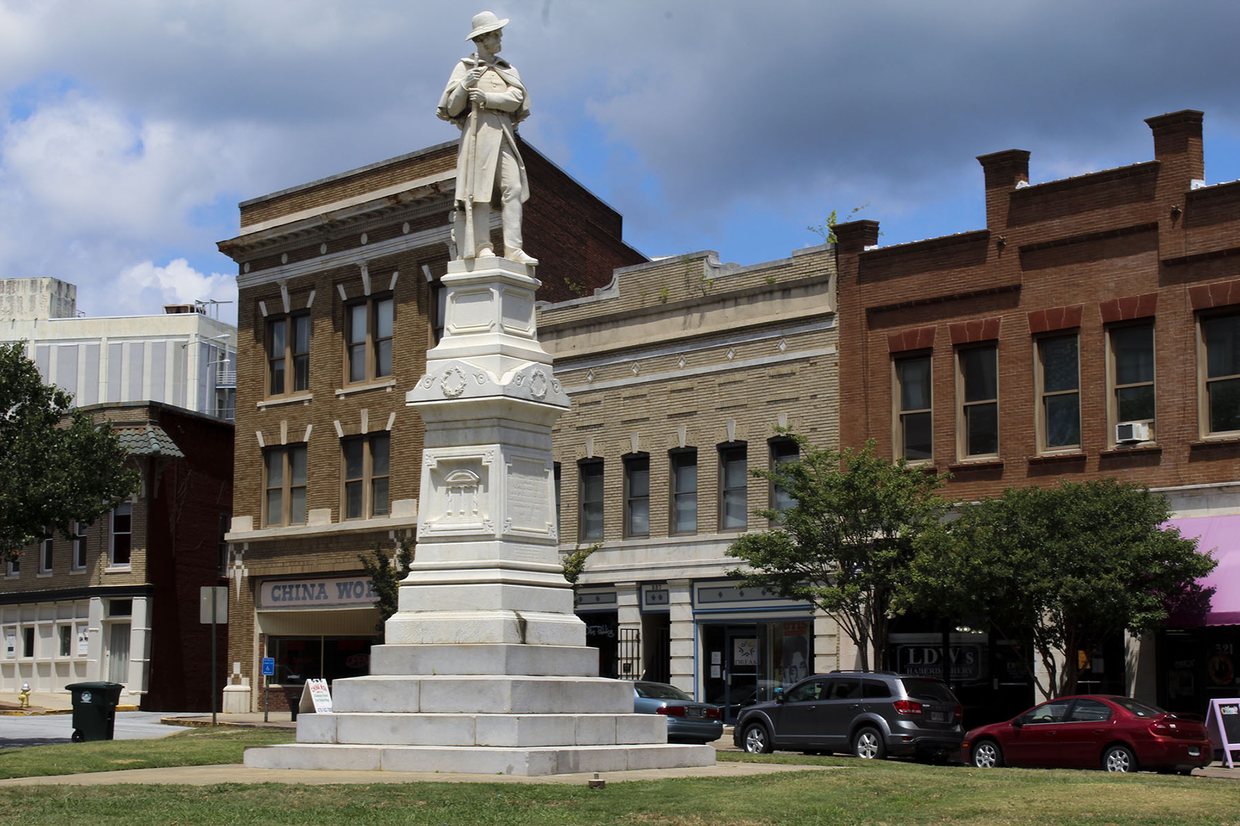 A statue honoring Confederate soldiers has stood at the intersection of Cotton Avenue and Second Street for more than 50 years. Opinions are split regarding whether monuments in the state should be removed - former Macon Mayor C. Jack Ellis wants all public Confederate statues removed, while state Rep. Tommie Benton wants the monuments preserved. (Phillip Jackson/News21)