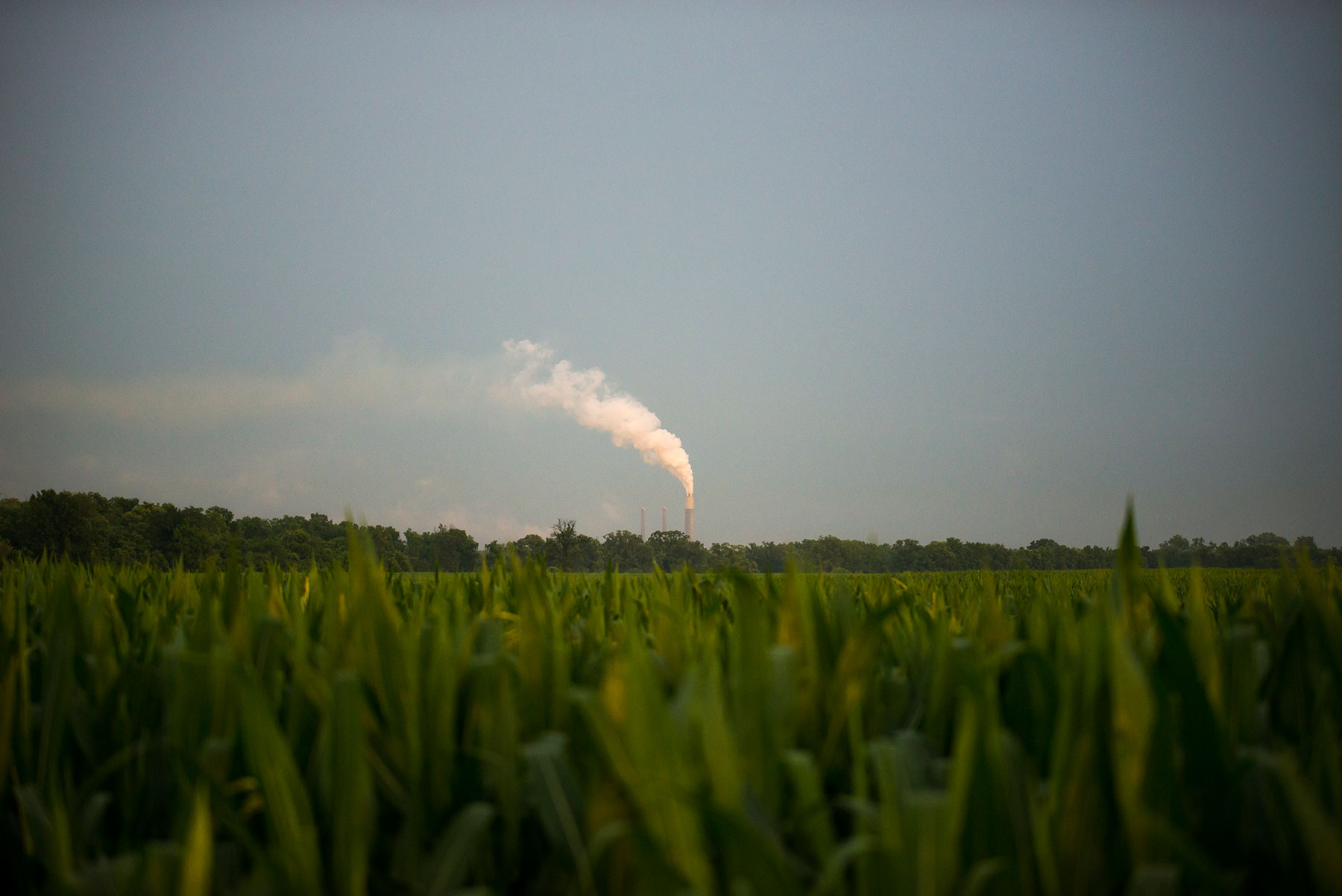 An industrial plant puffs out smoke in Newport, Indiana. It's the town's primary employer, but the decline of industry and regulations on coal here have greatly decreased the town's population and have hit its economy. (Roman Knertser/News21)